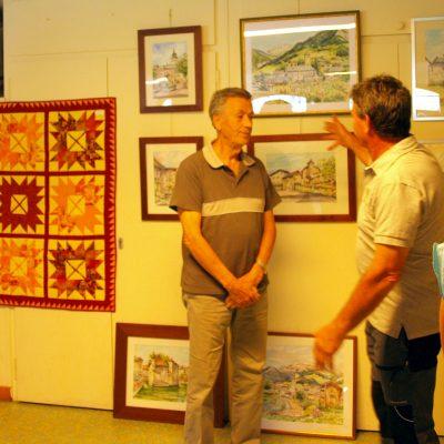 M. Roger Dumax-Baudron, peintre et M. Jean-Pierre Socquet, peintre et organisateur de l'exposition de peinture